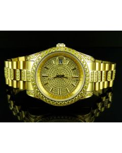 Mens Yellow Gold Stainless Steel Presidential Simulated Canary Diamond Watch 41MM