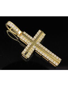 10K Yellow Gold Real Diamond Cross Pendant 1/2 CT 1.5""