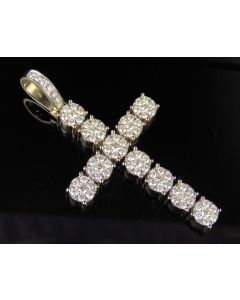 10K Yellow Gold Real Diamond Cross Pendant 3.85 CT 2.6""