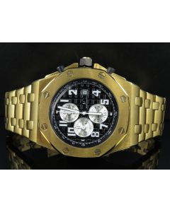 Men's Jewelry Unlimited Yellow Gold Finish Solid Steel Black Dial Watch