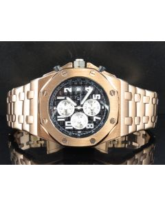 Men's Jewelry Unlimited Rose Gold Finish Solid Steel Black Dial Watch