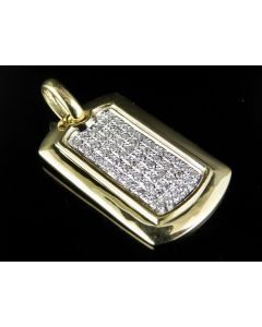Men's 10K Yellow Gold DogTag Diamond Pendant 0.50 Ct 1.5""
