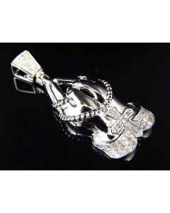 White Gold Finished Diamond Prayer Hands Cross Pendant (0.33 ct)