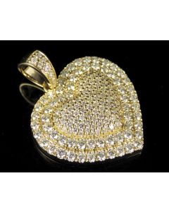 10K Yellow Gold Real Diamond Puff Heart Pendant 3.6 CT 1.5""