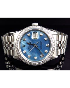 Rolex Datejust Blue Pearl Dial 16014 Diamond Watch (3 Ct)