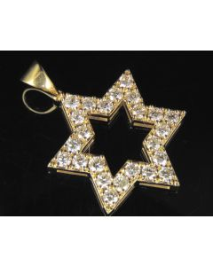 10K Yellow Gold Real Diamond Star Of David Pendant 1.4 CT 1.25""