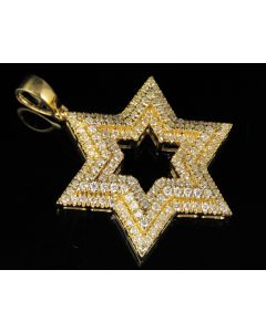 10K Yellow Gold Real Diamond Star Of David Pendant 1.85 CT 1.75""