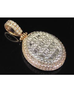 10K Two Tone Gold Real Diamond Baguette 3D Pendant 4.7 CT 1.6""