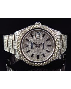 Rolex Datejust II 116300 Watch w/ Custom Set Diamonds (28.5 ct)