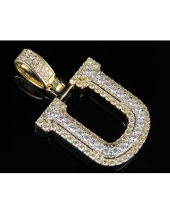 10K Yellow White Gold Real Diamond Custom 3D Initial U Letter Pendant 1.75 CT 1.5""