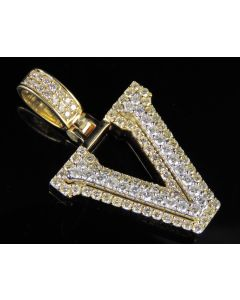 10K Yellow White Gold Diamond Custom 3D Initial V Letter Pendant 1.5 CT 1.5""