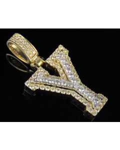 10K Yellow White Gold Diamond Custom 3D Initial Y Letter Pendant 1.25 CT 1.5""