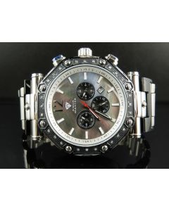 Mens Aqua Master Black MOP Dial Diamond Watch W#147-89-15 0.24 Ct