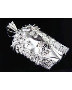 "Solid 3D Crowned Jesus Piece Pendant In White Gold Finish 2.25"" (1.20 Ct)"