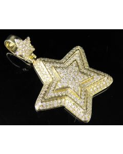 10K Yellow Gold Real Diamond Star Pendant Charm 2.20 CT 1.8""