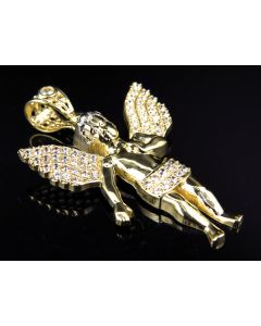 Simulated Diamond Heavenly Angel Pendant In 10k Yellow Gold