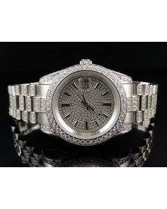 Mens White Gold Stainless Steel Presidential Simulated Diamond Watch 36MM