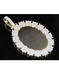 10K Yellow Gold Real Diamond Oval Cluster Memory Photo Pendant 3.5 CT 2.5""