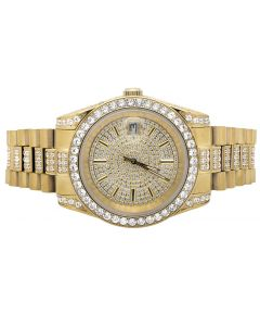 Mens Yellow Gold Stainless Steel Presidential Simulated Diamond Watch 41MM