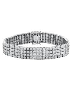 "Mens White Gold Finish 4 Row Prong Set Diamond Bracelet 2ct 8.5"" 17 mm"