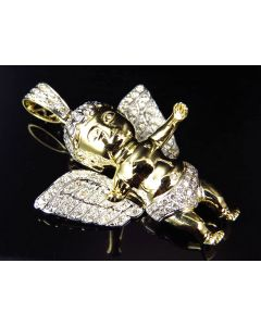 """10K Yellow Gold Genuine Diamond Butterfly Wing Angel Pendant Charm 2.0"""" (2.27ct)"""