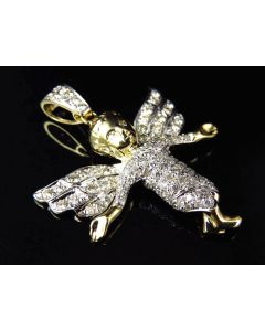 "Fully Iced Out 10K Yellow Gold Genuine Diamond Angel Pendant 1.5"" (0.75ct)"
