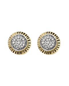 Yellow Gold Finish 7MM Starburst Fluted Frame Diamond Stud Earring 0.18ct.