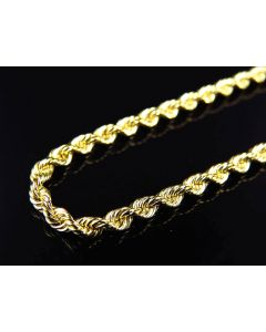 Solid Bonded Rope Chain 3 MM in 1/10th 10K Yellow Gold