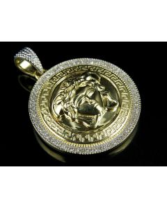 10K Yellow Gold Medusa Medallion Diamond Pendant 0.61ct