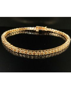 Rose Gold Finish One Row Real Diamond 3MM Tennis Bracelet 0.25 CT 7.5""