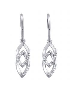 White Gold Plated Brass Dangle Earrings with Diamond Accents
