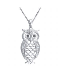 White Gold Finish Owl Necklace with Diamond Accents