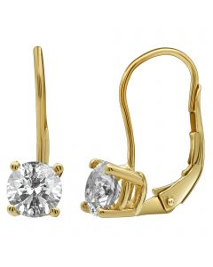 14K Yellow Gold Real Diamond Solitaire LeverBack Earrings 1.0ct