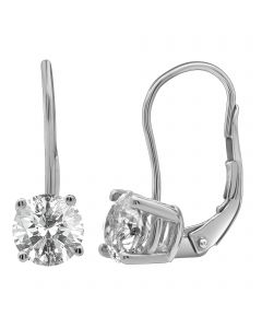 14K White Gold Real Diamond Solitaire LeverBack Earrings 2.0ct