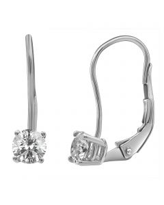 14K White Gold Real Diamond Solitaire LeverBack Earrings 0.25ct