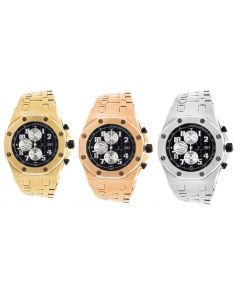 Men's Jewelry Unlimited Yellow/ Rose/ White Gold Solid Steel Black Dial AP Watch