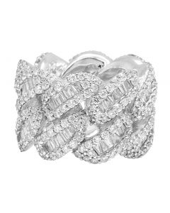 White Gold Baguette Cuban Ring Band 18MM 9.8 CT
