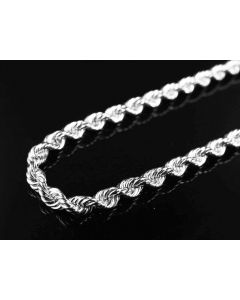 10K White Gold Solid Rope Chain 3MM 18-28 Inches