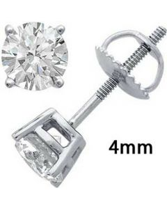 Mens Ladies .925 Sterling Silver White Finish Round Diamond Stud Earrings
