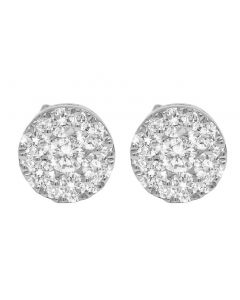 14K White Gold Diamond Flower Cluster Earrings 7MM 0.65CT