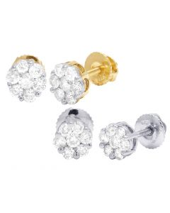 10K Yellow/ White Gold Flower Cluster Diamond Earrings .50CT