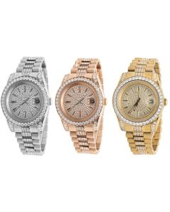 Men's Rose Yellow White Gold Stainless Steel Lab Diamond Presidential Watch 41MM