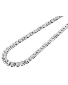 White Gold Halo Baguette Graduating Diamond Necklace 15 CT 20""