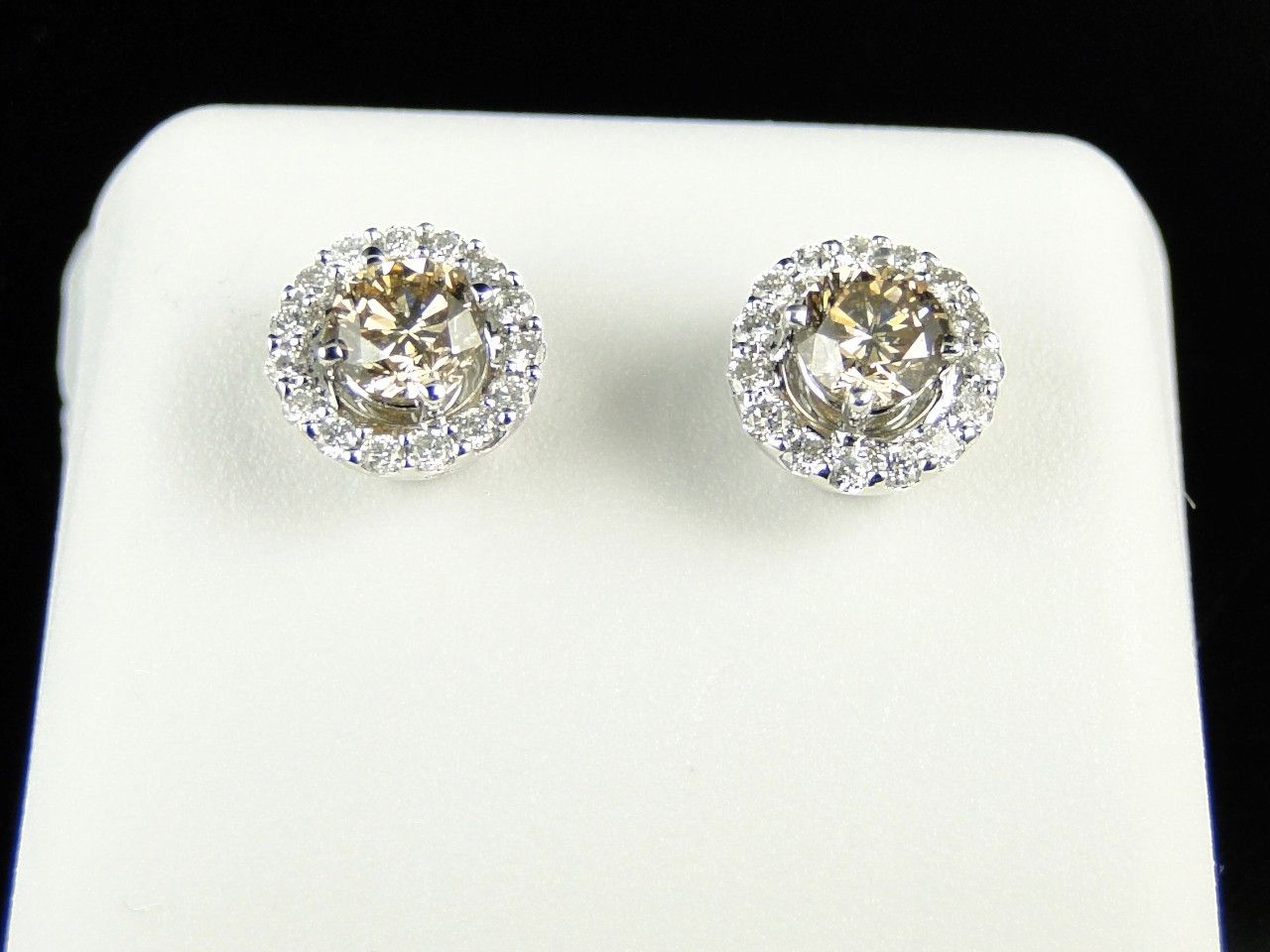 Solitaire With Jacket Brown Diamond Stud Earrings In 14k White Gold
