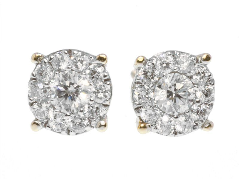 Round Cut Invisible Set Diamond Stud Earrings In 8mm