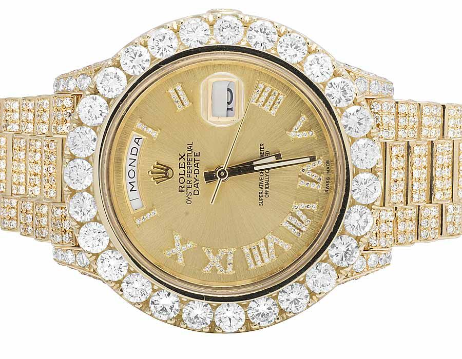 18k Yellow Gold Rolex Day Date Ii 228238 President With 365 Ct Diamond Watch