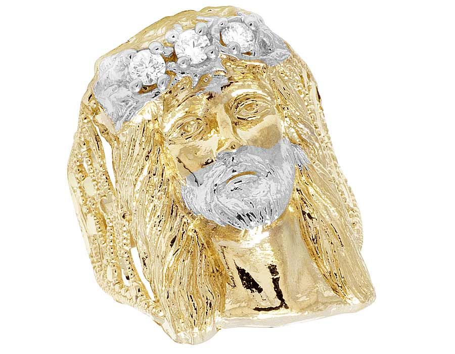10k Solid Yellow  and  White Gold Simulated Diamond Jesus Head Men/'s Ring