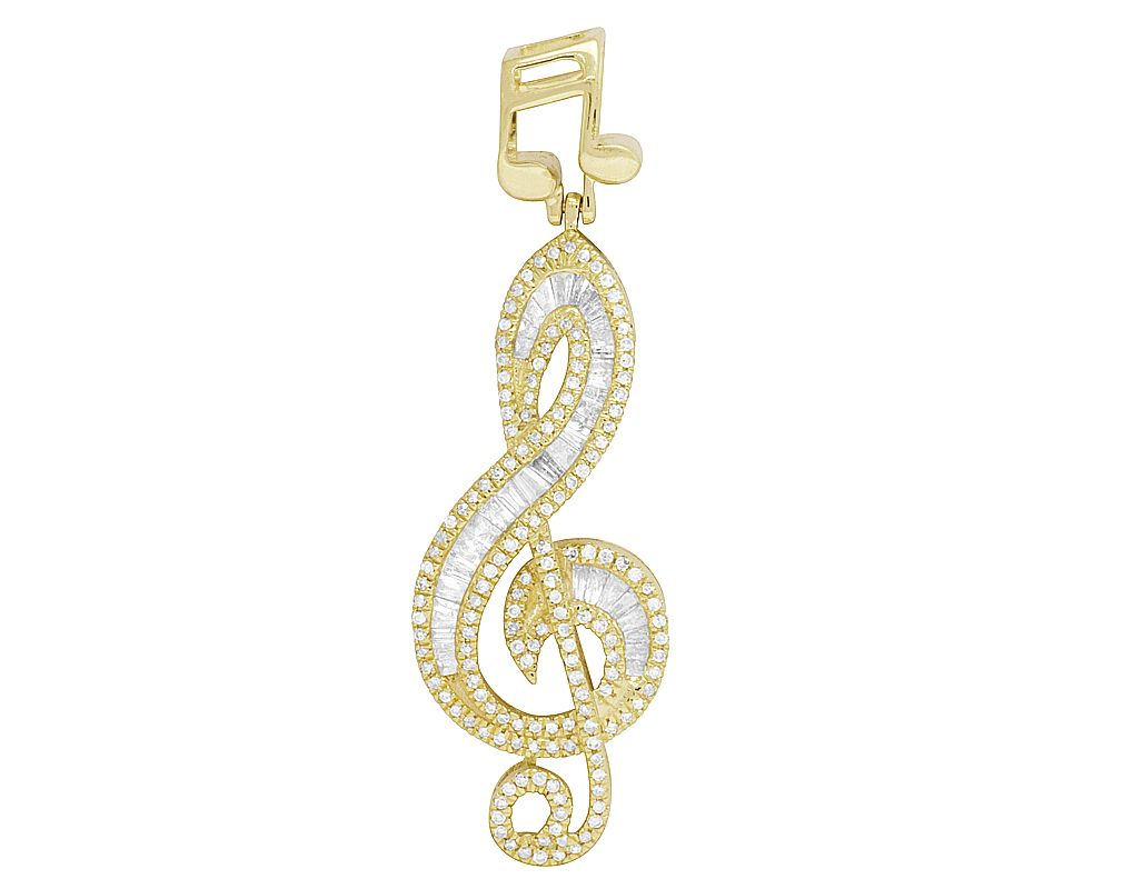 Treble Clef Music Note Charm Music Lover 10K Yellow Gold Music Charm