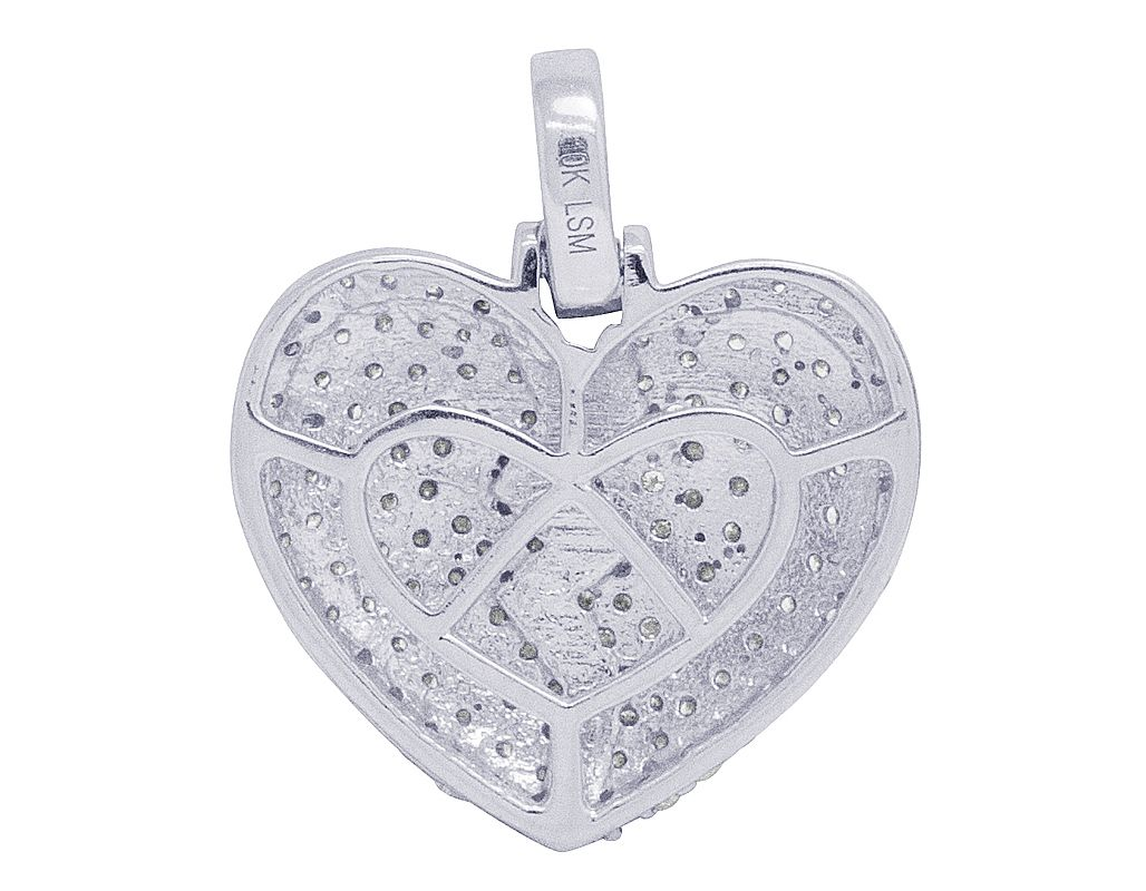 Details about  /Solid 10k White Gold Diamond Heart with Allah Pendant Necklace