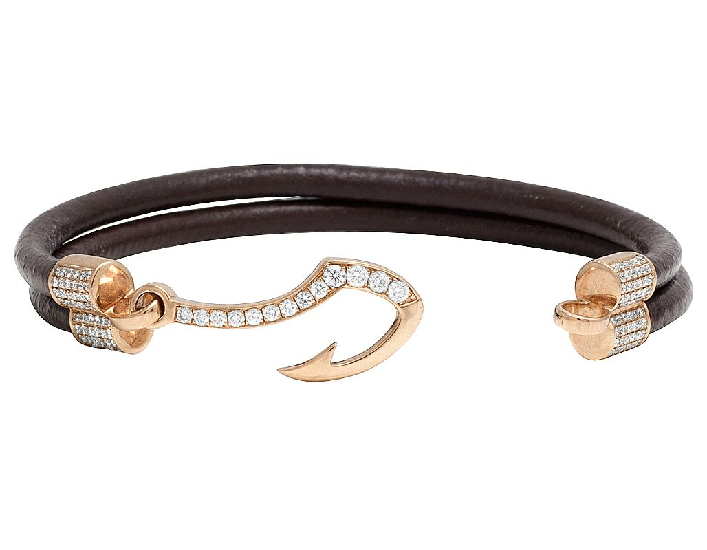 14k Rose Gold Diamond Fish Hook Angkor Brown Leather Bracelet 1 5ct